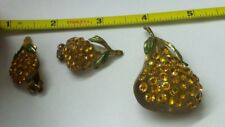 LUCITE BROOCH AND EARR SET fruit pear shaped rhinestone  vintage
