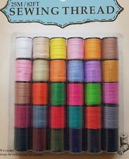 SET OF GOOD QUALITY SEWING THREAD. 30 SPOOLS VARIOUS COLOURS. EACH 25M / 82FT