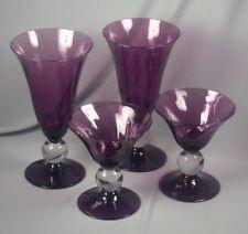 4 Bryce Amethyst Apollo Swirl Optic Goblet Glasses - Ice Tea, Champagne