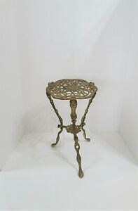 Antique Ornate Brass Two Tier Gold Plant Stand
