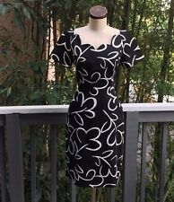 Vintage ARNOLD SCAASI Dress Floral Black White 8