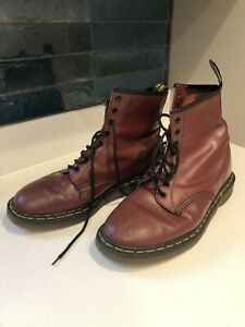 Original 1990s Dr Martens 1460 Cherry Red 8 hole boots. Size 9 Made In England