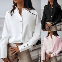 Womens Stand Collar Long Sleeve Metal Button Solid Casual Blouse Shirt Tops