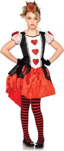 Child Queen Of Hearts Wonderland Fancy Dress Costume Age 4 5 6 7 8 9 10 Kid Girl
