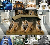 3D Duvet Set With Quilt Cover, Fitted Sheet & Pillow cases Animal Print Bedding