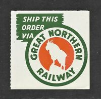"""Great Northern Railway Baggage or Package Promotional Stamp  2 1/2""""  Square  MNH"""