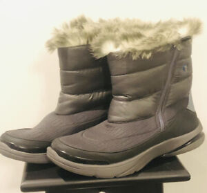 Womens BZEES Luscious Boots by Naturalizer Grey Faux Fur 9 Medium