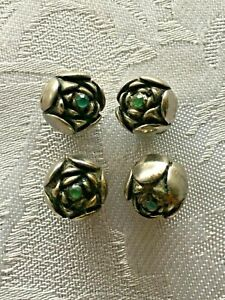 Lovely Tiny Vintage Silver Rose Button LOT of 4 Blue-Green Rhinestone