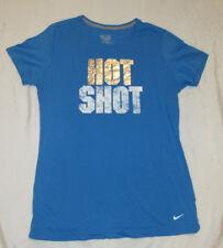 NIKE Ladies SLIM FIT Blue Silver White HOT SHOT Graphic T-Shirt sz XL L