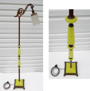 Art Deco Vaseline Uranium Jadeite Houze Glass Bridge Floor Lamp