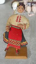 "Vintage 1930s Cloth Wood Bulgaria Ethnic Girl  Doll 7 1/2"" LOOK"