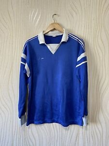 ADIDAS 80s 90s VINTAGE FOOTBALL SHIRT SOCCER JERSEY ADIDAS LONG SOCCER BLUE