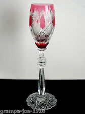 """1 Faberge Czar Cranberry Pink Cased Cut To Clear Crystal 9 1/2"""" Wine Sherry"""