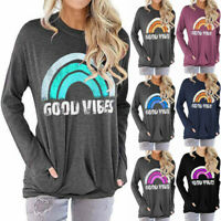 Women Good Vibes Blouse Long Sleeve Tunic Tops Ladies Casual Loose Hoodie Shirt