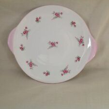"""SHELLEY PINK ROSES SPRAY/BRIDAL ROSE TWO HANDLED 10"""" CAKE PLATE VERY GOOD"""