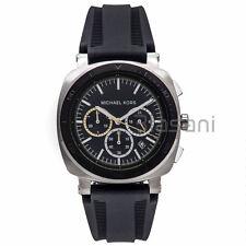 Michael Kors Original MK8553 Mens Bax Black Silicone Watch Chronograph 43mm
