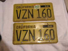 Vintage 1956 - 1962 Set California License Plates VZN 160