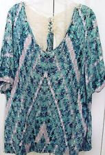 LYS-Plus 2X-Pullover Blue Peasant Blouse-Abstract-Lace Back-Stretch hem & Cuffs