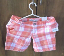 WOMEN'S/JUNIOR'S AEROPOSTALE ORANGE & WHITE PLAID SHORTS SIZE 0 - XXSMALL NWT