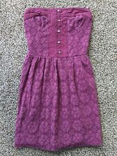 Abercrombie and Fitch Women's Strapless Dress Cotton size 0 Strapless Pink Lace