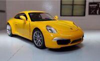 G LGB 1:24 Scale Yellow Porsche 911 991 Carrera 4 S New Ray Diecast Model Car