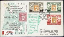 2328 PHILIPPINES TO SPAIN REGISTERED FDC COVER 1954 STAMP ON STAMP MANILA - BCNA