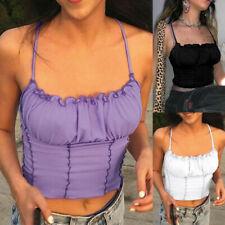 Women Ruffle Crop Top Summer Sleeveless Party Blouse Shirt Boob Cami Vest Top