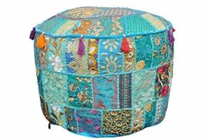 "18"" Indian Embroidered Cotton Round Seat Cover Bohemian Patchwork Ottoman Pouffe"