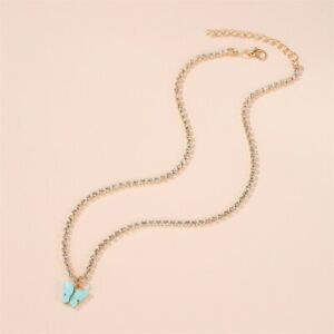 Sky Blue Butterfly Beads Necklace Rhinestone Gold P pendant necklace