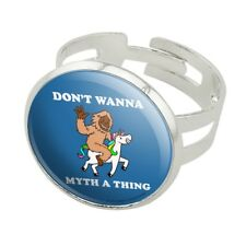 Don't Wanna Myth Thing Unicorn Bigfoot Silver Plated Adjustable Novelty Ring