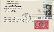 Ernie Kehr Adlai Stevenson uprated first-day card to Swiss postal official