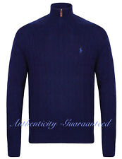 Polo Ralph Lauren Half Zip Cable Knit Jumper Mens Blue Size Medium 100 Genuine