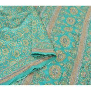 Sanskriti Vintage Green Indian Sarees Pure Silk Hand Beaded Craft Sari Fabric