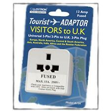 Travel Plug Adaptor For Visitors Tourists To UK - NEW Universal 2/3 Pin to 3 Pin