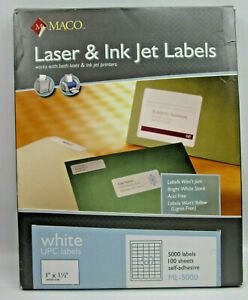 """Maco White UPC Labels 1 x 1 1/2"""" for Laser & Ink Jet Printers 5000 on 100 Sheets"""