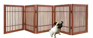 Pet Dog gate Strong and Durable 5 Panel Solid Acacia Hardwood Folding Fence