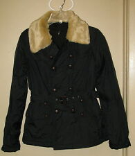 Womens Double-Breasted Jacket Faux Fur Collar Belted  Black  M  NWOT