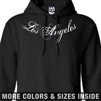Los Angeles Tattoo HOODIE - Hooded L.A. Distressed Collar Sweatshirt -All Colors