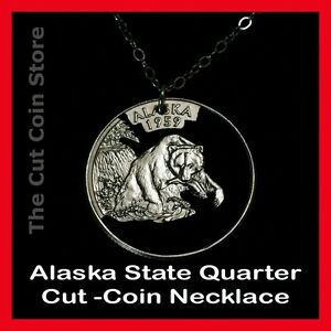 Alaska 25¢ AK Quarter Cut Coin Charm Necklace Last Frontier State Grizzly Bear