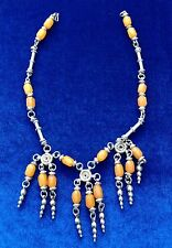 Tribal Amber and Silver Vintage Necklace from Afghanistan