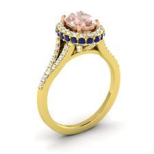 10K Yellow Gold 1.80CT MORGANITE SAPPHIRE DIAMOND HALO SOLITAIRE ENGAGEMENT RING