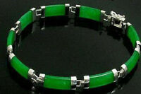 Pretty Natural Green Jade Gemstone White Gold Plated Fortune Lucky Link Bracelet