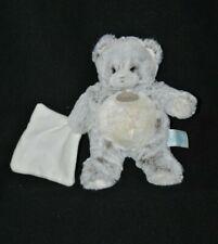 Peluche doudou ours brun blanc chiné BABY NAT' les flocons mouchoir 22 cm NEUF