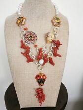 Collana ceramica Caltagirone , perle bianche e corallo rosso