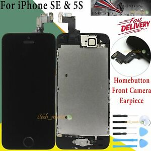 For iPhone SE 5S LCD Touch Screen Replacement Display + Home Button Cmera Black