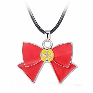 Sailor Moon Collar Necklace with Metal Pendant Red Bow Tie