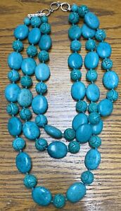 Lucas Lameth LUC 925 CN Sterling Silver Turquoise Necklace 694 Grams