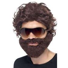 Perruques, barbes et moustaches marrons enterrement de vie de garçon pour déguisement et costume
