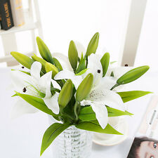 3 Head Artificial Lily Bridal Wedding Bouquet Fabric Flower Bouquets Party Decor White