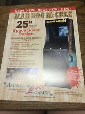 American Laser MAD DOG MCCREE & GALLZAGHER Arcade Shooting Game flyer- original